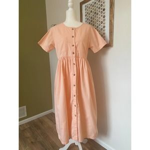 Peach button down pocketed midi dress | M